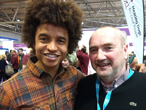 Volunteer Keith with Blue Peter presenter Radzi Chinyanganya