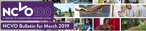 Email header with composite image of various NCVO members and the NCVO logo with copy, 'Your NCVO Member Bulletin, March 2019'
