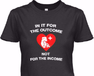 'In it for the outcome, not the income' written on a t-shirt