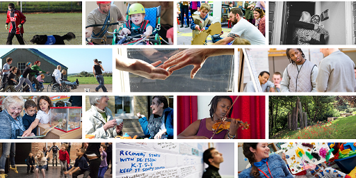 A montage of lots of small charities at work